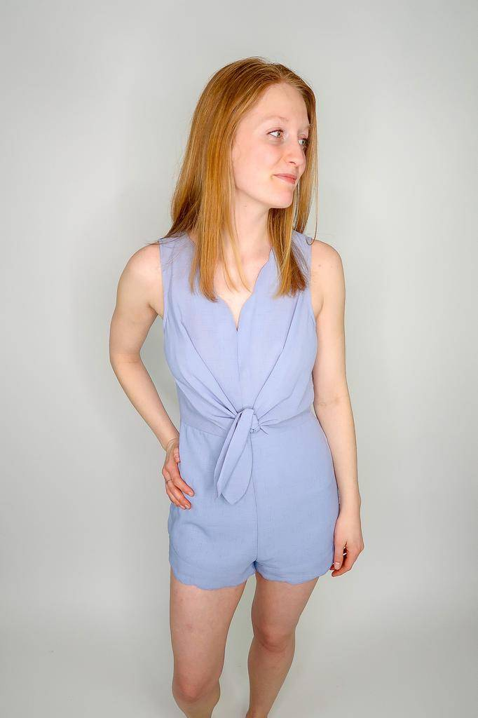 314152967e50 She + Sky Sleeveless Woven Romper w  Front Tie Detail   Scalloped Hems