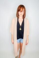 She + Sky Long Woven Kimono Cover Up w/ Side Slits