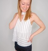 She + Sky Sleeveless Woven Striped Mock Neck Top w/ Neck Keyhole