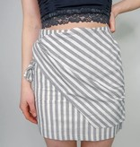 She + Sky Striped Woven Mini Skirt w/ Front Wrap Detail