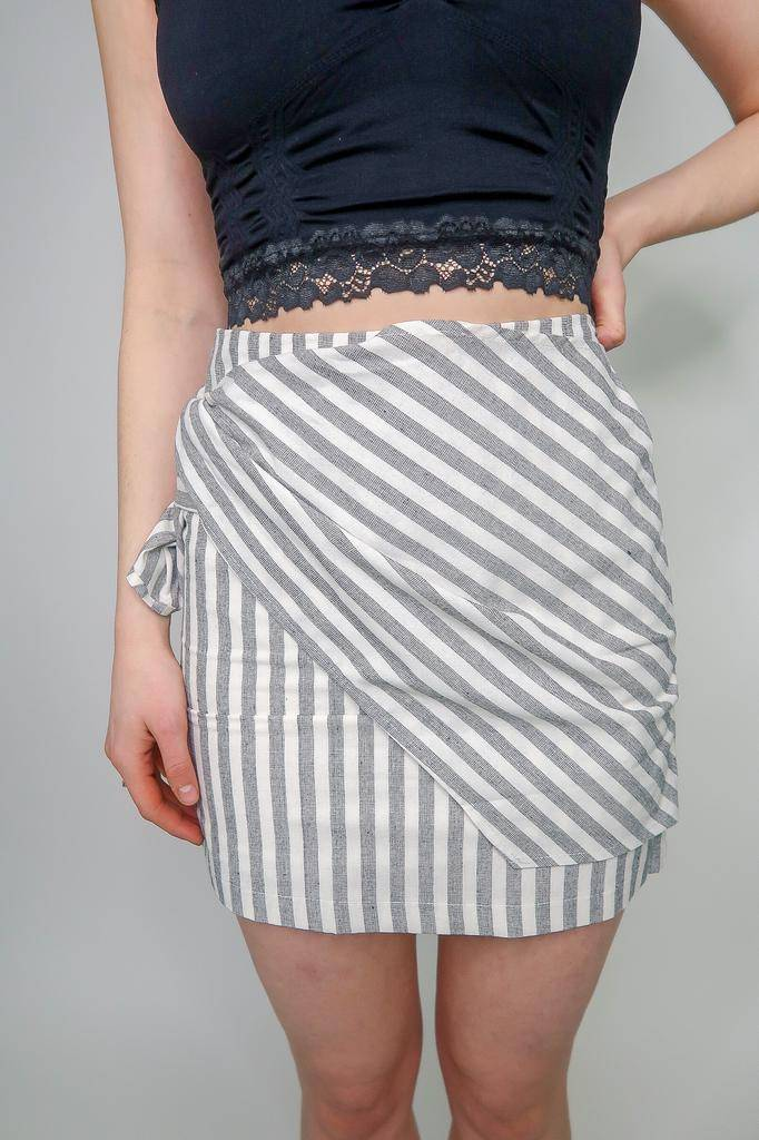 She + Sky Striped Woven Mini Skirt w/ Front Wrap Detail