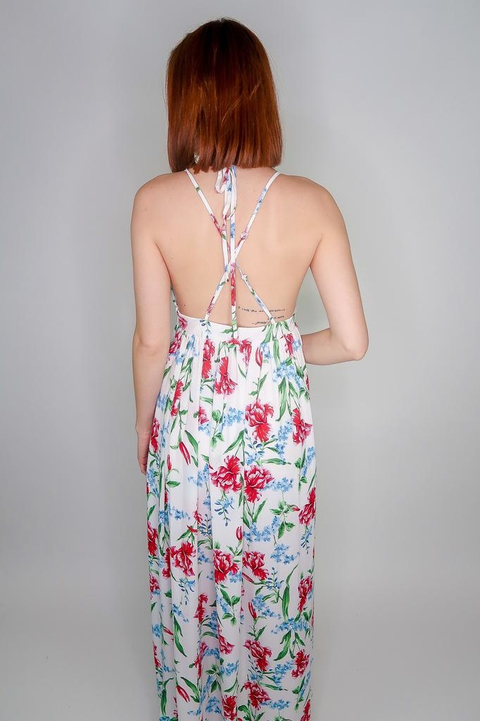 She + Sky Strappy Woven Floral Maxi Dress w/ Lining & Side Slits