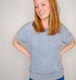 She + Sky Drop Shoulder Garment Dyed Thermal Knit Top w/ Open Back Detail