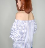 She + Sky 3/4 Pintucked Bubble Sleeve Off the Shoulder Striped Woven Top