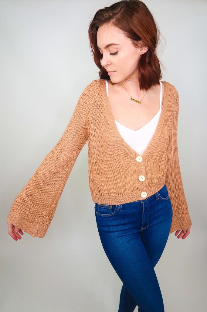 Cozy Casual Cropped Bell Sleeve Cardigan
