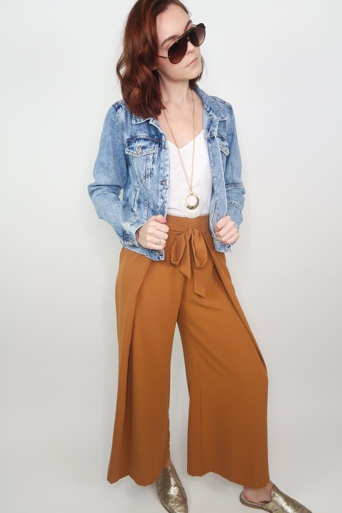 Blu Pepper Wide Fold Waist Tie Pants