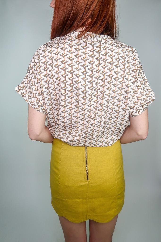 Sweet Rain Geometric print tie front top