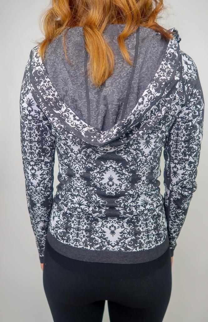 M Rena Jacquard Hoodie Jacket w/ Contrast Zipper and Hem