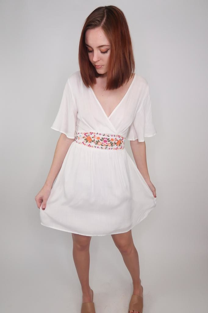 She + Sky Been a While Flutter Sleeve Dress