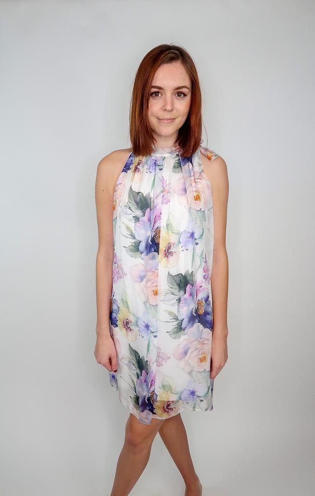 Scandal Beth floral silk dress w/ tie