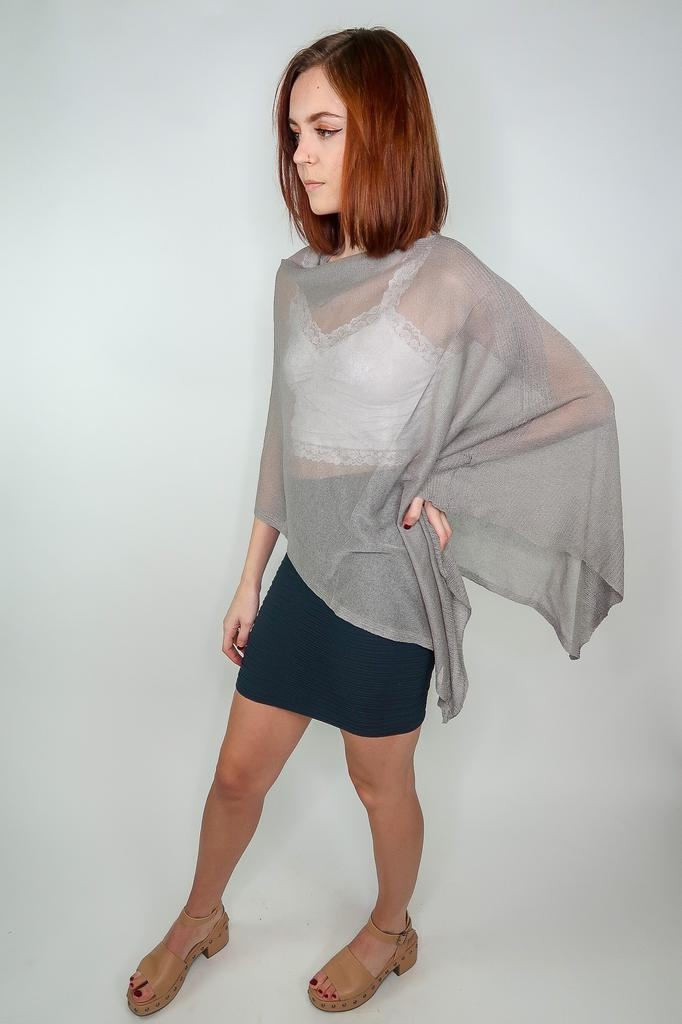 Look by M Shimmer wrap poncho