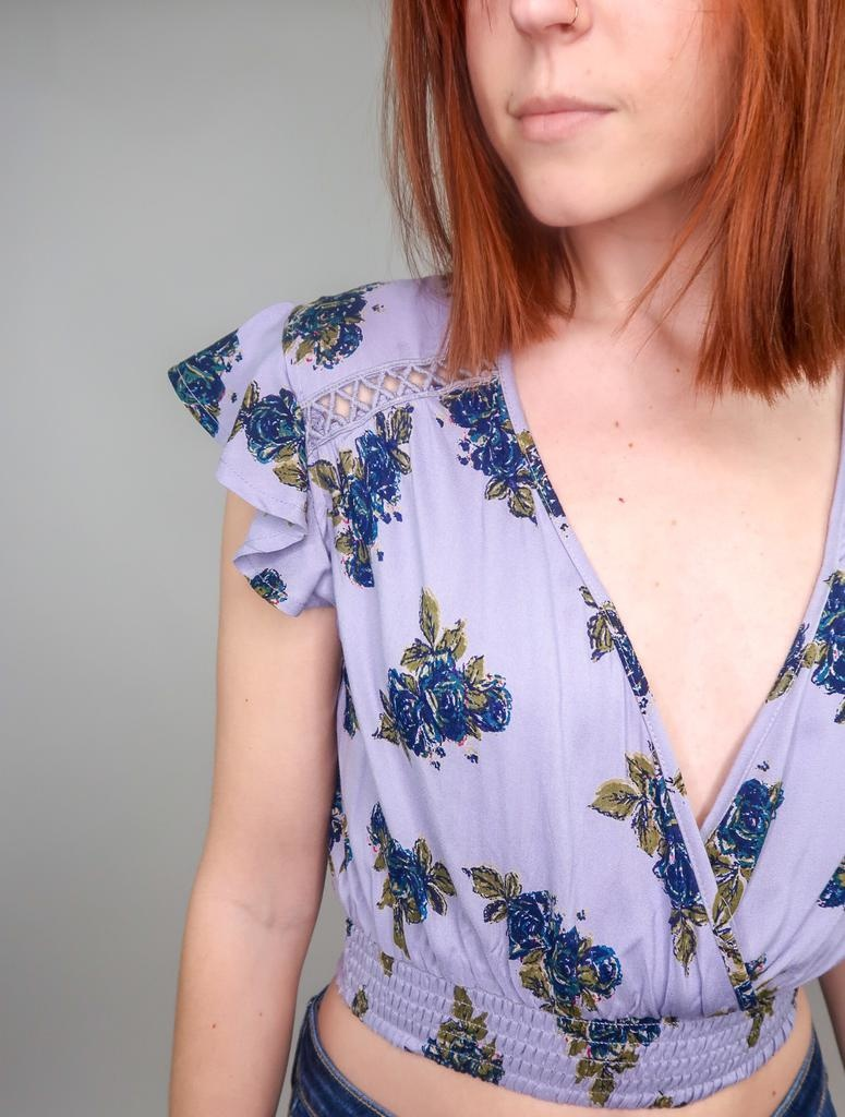 Angie Lilac Festival Flutter Sleeve Top
