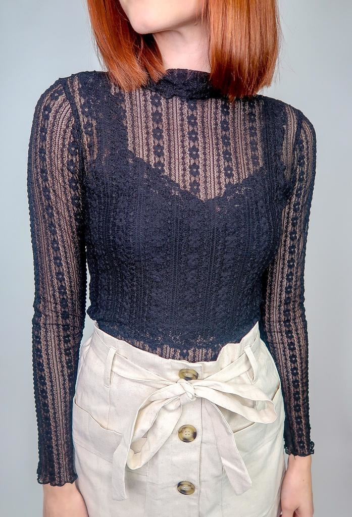Blu Pepper Turtle Neck Long Sleeve Lace Knit Top