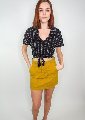 HYFVE Printed button-up top w/ tie