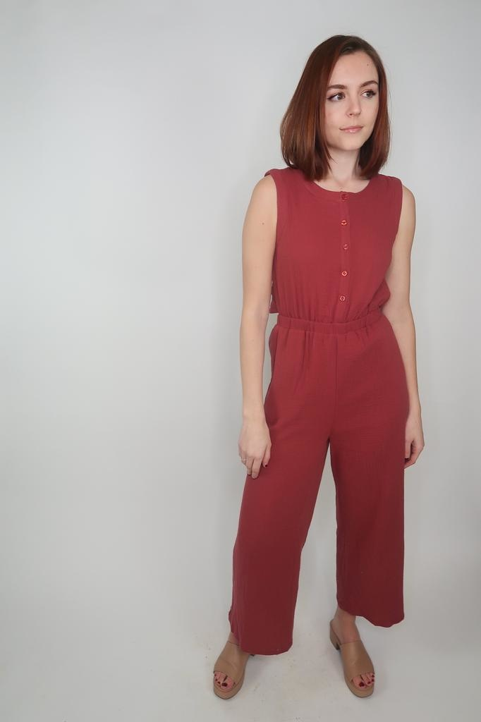 Cozy Casual Open Back Jumpsuit