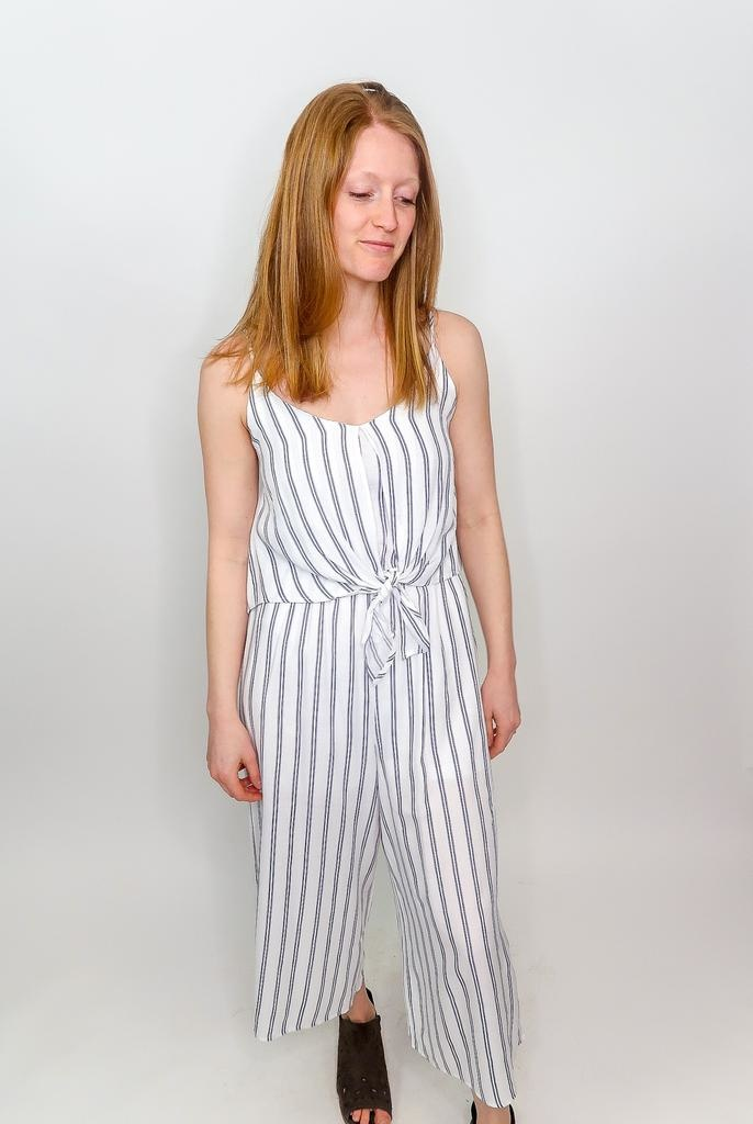 She + Sky Tipsy Topsy Striped Jumpsuit