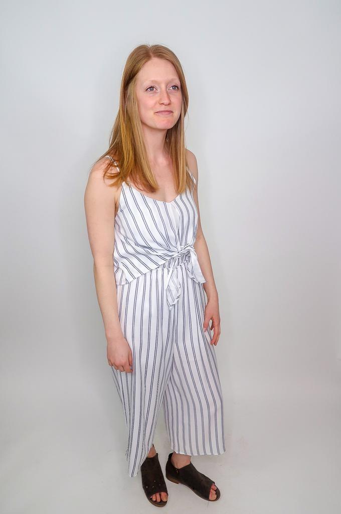 She + Sky Tipsy Topsy Striped Jumpsuit