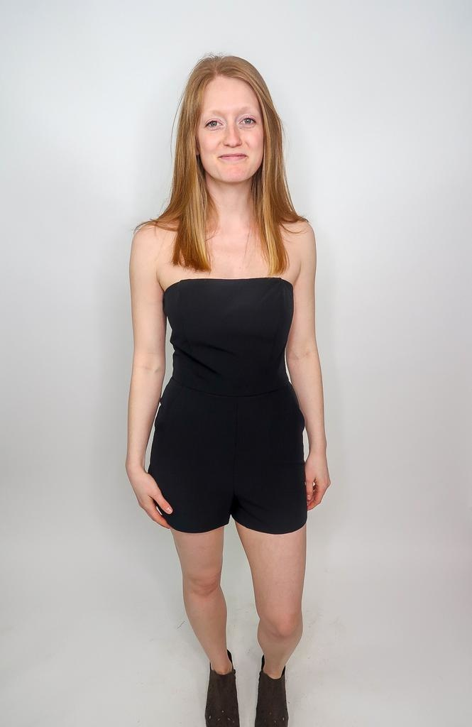 She + Sky Watch Me Break It Down Strapless Romper