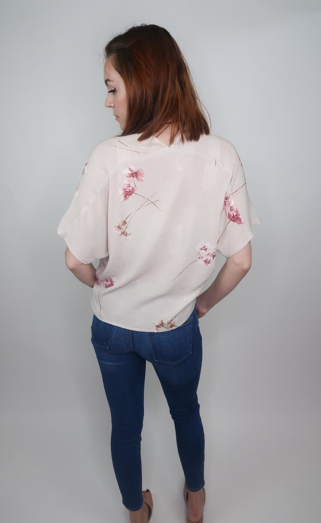 Grade & Gather Floral Tie Front Top