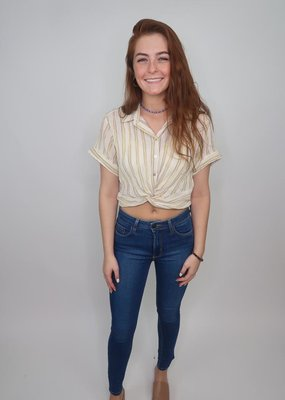 Angie Twist Front Button Up Top
