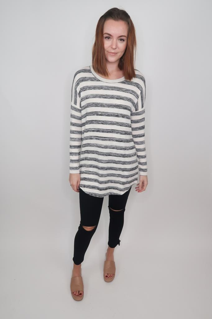 Angie LS Knit Tunic Drop Shoulder