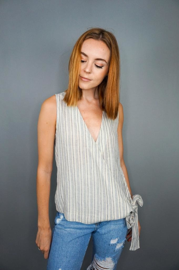 Grade & Gather Striped Side Tie Tank