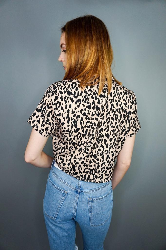 Aakaa Leopard Print Tie Front Top