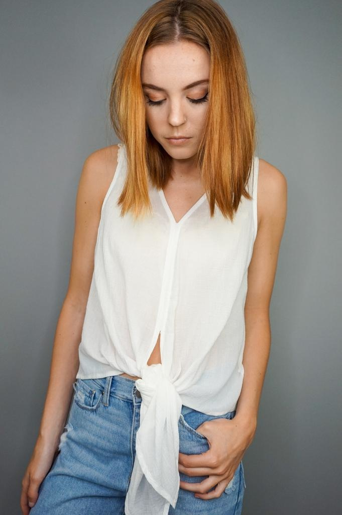 Grade & Gather Front Tie Top