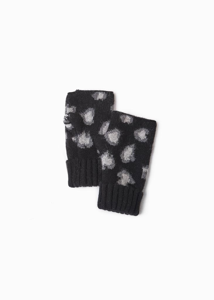 Look by M Cashmere Leopard Print Fingerless Gloves
