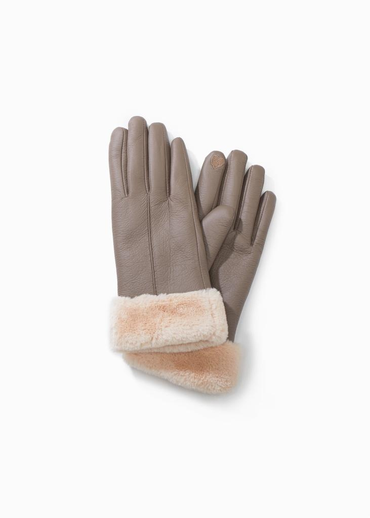 Look by M Faux Leather Fur Trimmed Gloves