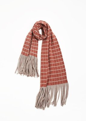 Look by M Grid Fringe Scarf