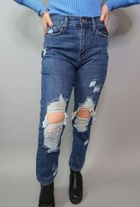 Just Black High Rise Super Destroyed Girlfriend Jeans