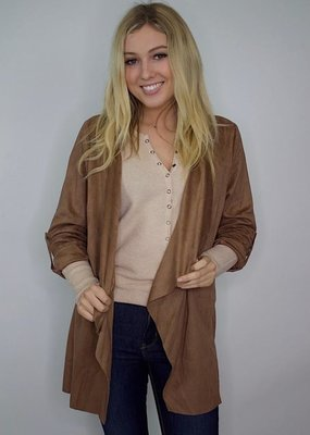 She + Sky Serious Business Faux Suede Jacket