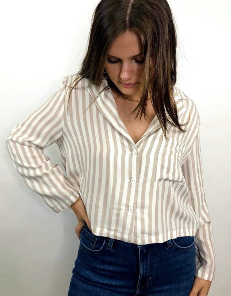 Cozy Casual Cross the Line Striped Button Down Shirt