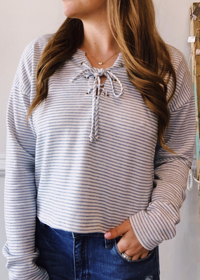 Sadie & Sage Get Around Lace Up Knit Top