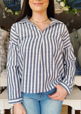 Cozy Casual Boat Trip Striped Long Sleeve Top