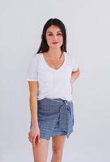 She + Sky Glen Plaid Mock Wrap Mini Skirt