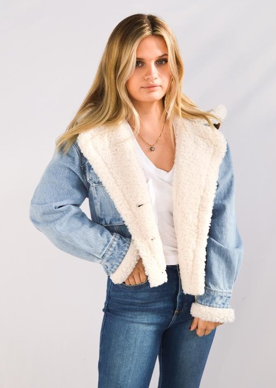 Free People Perry Hooded Denim Jacket