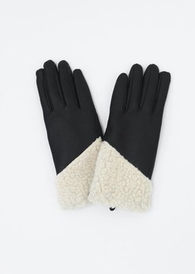 Look by M Asymmetrical Shearling Leather Gloves