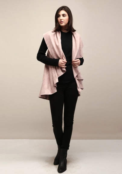 Look by M Suede Basic Shawl Vest