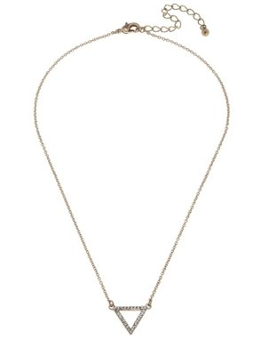 """Canvas Jewelry Open Triangle Pave Necklace 15"""" Adjustable"""