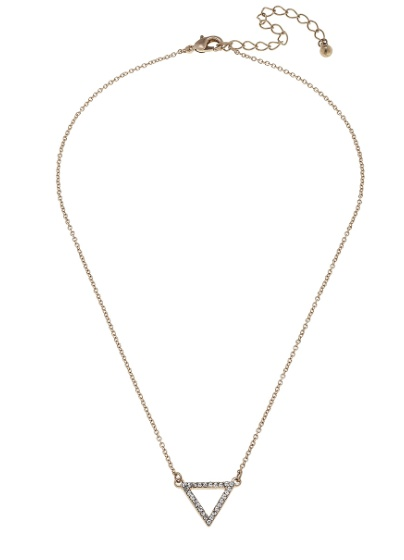 "Canvas Jewelry Open Triangle Pave Necklace 15"" Adjustable"