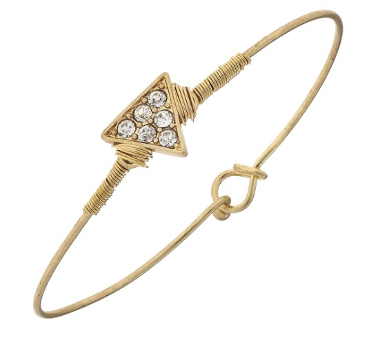 Canvas Jewelry Pave Solid Triangle Latch Bangle