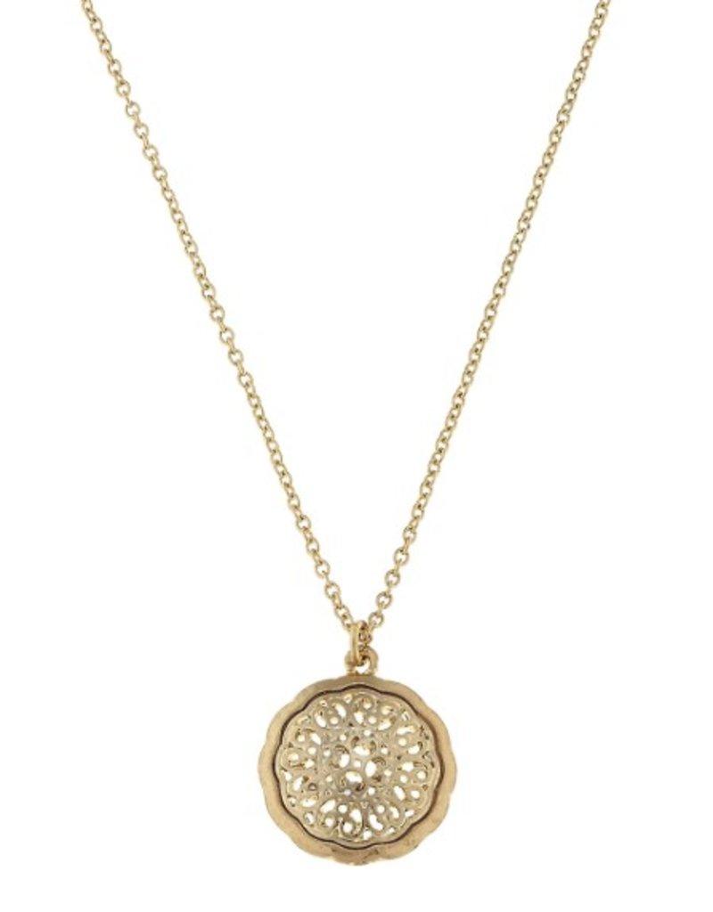 Canvas Jewelry Circle filigree pendant necklace