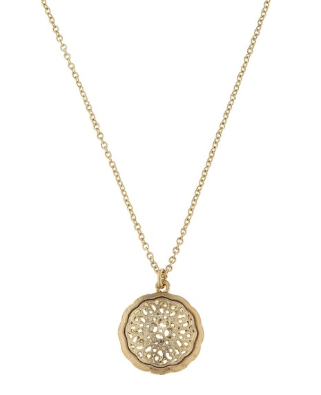 Canvas Jewelry Circle filigree pendant necklace