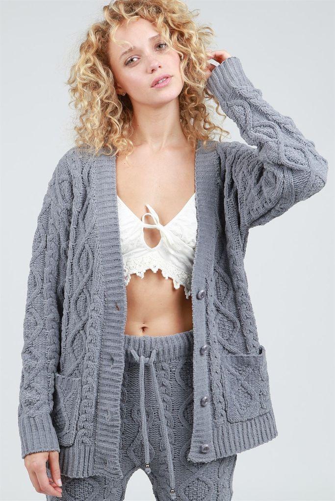 POL Velvet Chenille Button Sweater Cardigan w/ Pockets
