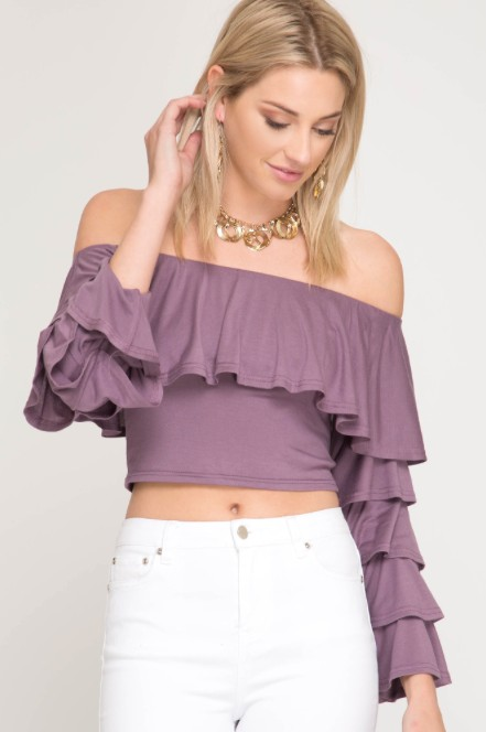 She + Sky Off Shoulder Long Sleeve Crop Top With Ruffles