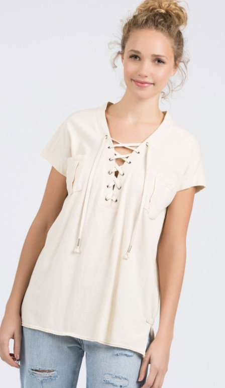 POL Capped Sleeve Lace-Up Front Top With Pockets