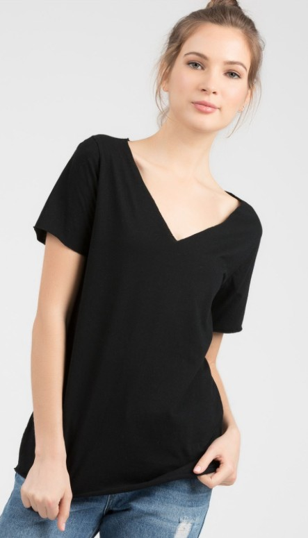 POL Short Sleeve Deep V Top