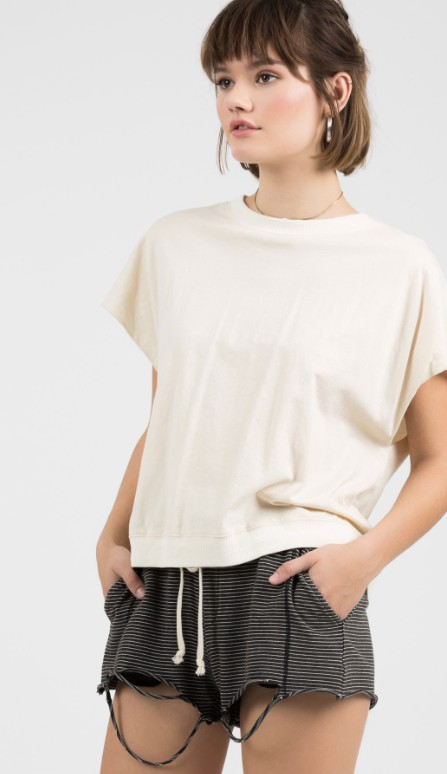 POL Short Sleeve French terry Top With Lace Up Detail On Back